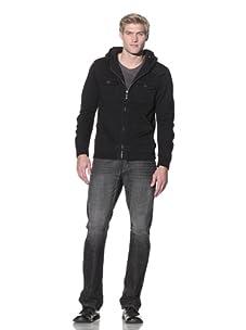 Darring Men's F1 Pocket Zip Hoodie (Black)