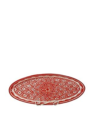 Le Souk Ceramique Nejma Extra Large Oval Platter, Red/White