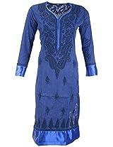 PR Chikans Women's Cotton Kurti (Blue, X-Large)
