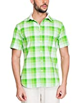 Zovi Cotton Slim Fit Casual Green and White Checkered Shirt(11894103101_Medium)