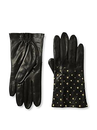 Portolano Women's Studded Leather Gloves (Black/Gold Studs)
