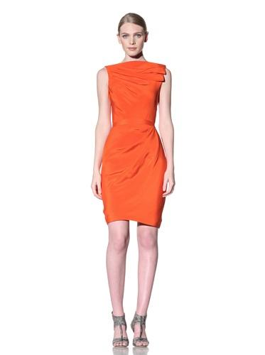 Christian Siriano Women's Pleated Shift Dress (Citrus)