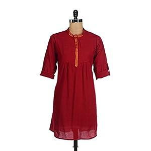 Fami India red and gold cotton medium kurti shirt