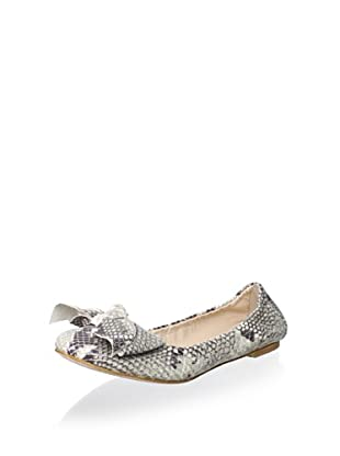 Modern Fiction Women's Ballet Flat with Bow (Roccia Tan Snake)