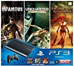 Sony-Play Station 3 500GB P Chassis Rus Free Game Infamous/Uncharted/Heavenly Sword-Black