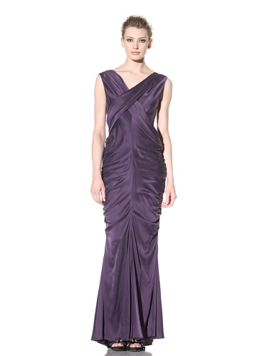 Vera Wang Women's Washed Charmeuse V-Neck Draped Gown (Plum)