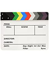 Neewer 10082301  Acrylic Plastic 10x12-inch or 25x30cm Dry Erase Director's Film Clapboard Cut Action Scene Clapper Board Slate with Color Sticks