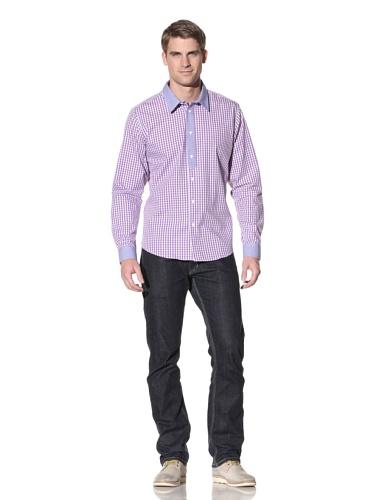 White Picket Fence Men's Accent Gingham Shirt (Violet/Blue)