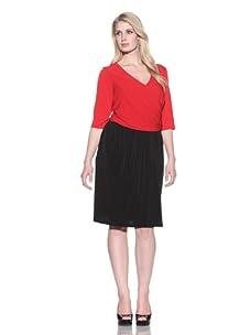 Ellen Tracy Women's Two-Tone Surplice Wrap Dress (Red/black)