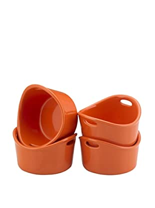 Rachael Ray Bubble and Brown Set of 4 Ramekins (Orange)