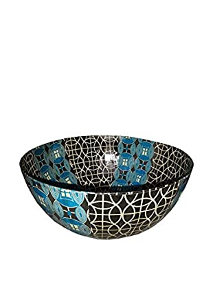 Asian Loft Handcrafted Swaziland Paper Mache Bowl, Blue/White/Black