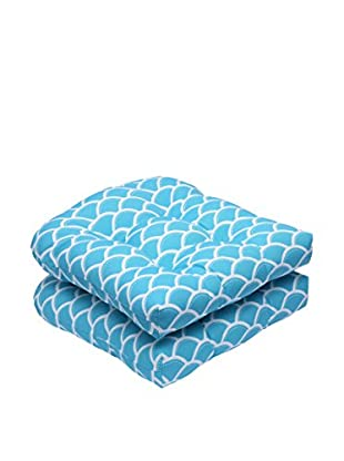 Pillow Perfect Set of 2 Indoor/Outdoor Sunny Turquoise Wicker Seat Cushions, Blue