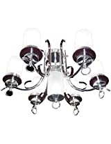 Aesthetichs Glass & Steel Chandelier With Wooden Finish - 7 Bulbs