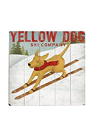 Artehouse Yellow Dog Ski Company Wood Wall Décor, Brown/White