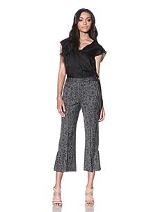 Chloé Women's Floral Print Cropped Pant (Black)