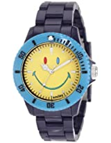 Smiley Happy Time Men s Wgs-Cbbv01 Color Block Blue And Yellow Analogue Watch