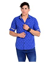 Sting Blue Solid Slim Fit Full Sleeve Cotton Casual Shirt -SG0011B156FXXL