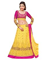 Khoobee Presents Women's Multi Embroidered Semi-Stitched Lahenga With UnStitched Blouse Piece.(Yellow,Pink)