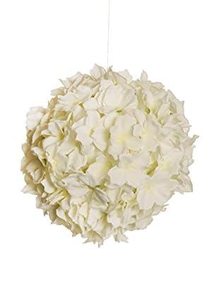 Kunstblumen Kugel creme/weiß