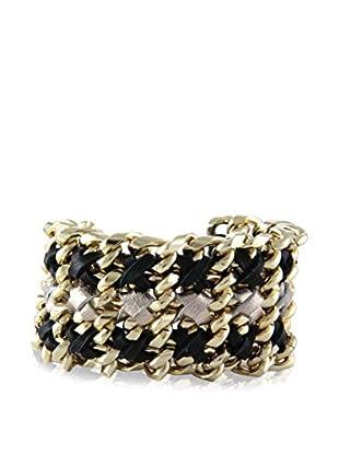 Ettika Black Gilded Gate Chain & Leather Bracelet
