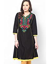 Black Embroidered Kurtis Dhwani