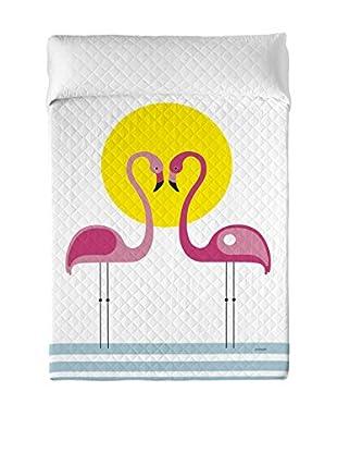 DAVID DELFIN Colcha Pink Flamingos