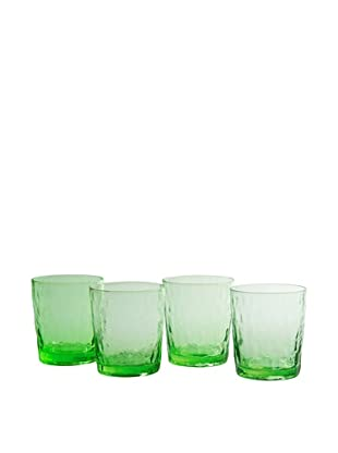 Artland Set of 4 Ripple Green 13-Oz. Double Old Fashion Glasses