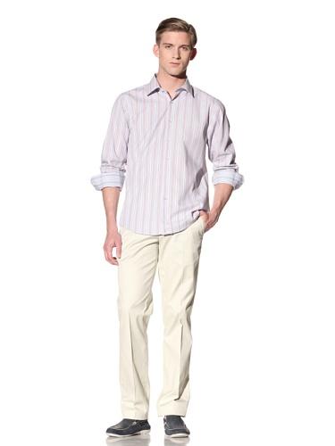 Report Collection Men's Dot Stripe Button Down Shirt (Orange)