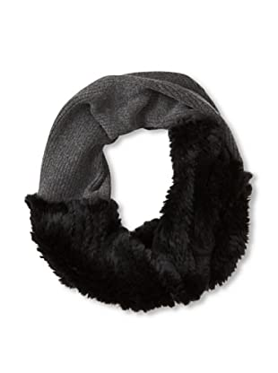 Quinn by Qi Cashmere Women's Payge Knit Circle Scarf with Fur (Dark Gray/Black Fur)