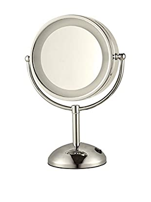 Nameek's Glimmer Double Face Round 3X Makeup Mirror, Satin Nickel