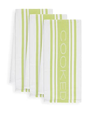 KAF Home Set of 3 COOKED Kitchen Towels, Green