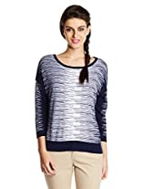 French Connection Women's Sweater (78CBD_Prussian Blue and Winter White_Large)