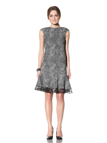 Behnaz Sarafpour Women's Spotted Double Knit Cap Sleeve Dress (Black/White)