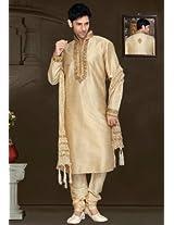 Beige Art Silk Readymade Kurta with Churidar