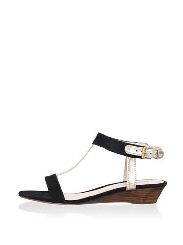 Rosegold Women's Lulu T-Strap Sandal (Black/White Gold)