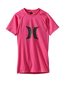 Hurley Girls 7-16 Horizon Rash Guard Short Sleeve Shirt (Pink)