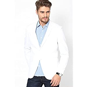 Andrew Hill Smart White Mixed Linen Blazer