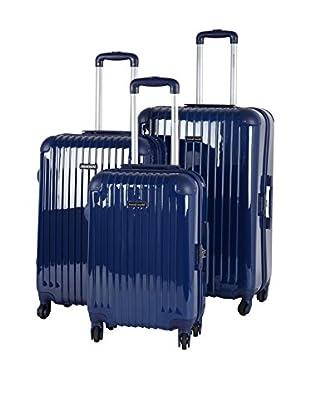 TRAVEL WORLD 3er Set Hartschalen Trolley  blau