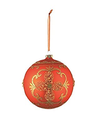 Napa Home & Garden Ornate Glass Ball Ornament, Orange