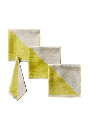 Kate Spade Saturday Set of 4 Graphic Napkins, Chartreuse/Natural