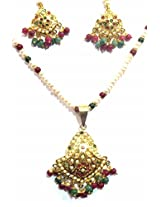 Shingar Ksvk Jewels Jadau Ruby Emerald Pendant Set For Women (9623-jadaau-Ruby-Emerald-ps)