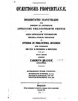 Quaestiones Propertianae, Dissertatio Inauguralis