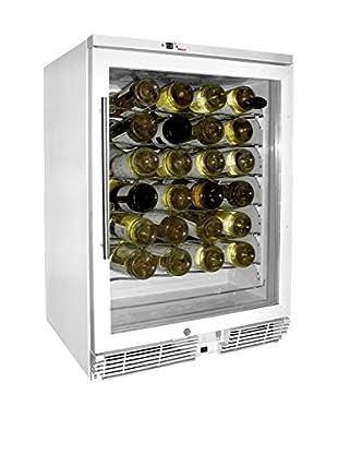 Vinotemp 58-Bottle Wine Cooler, White/Chrome