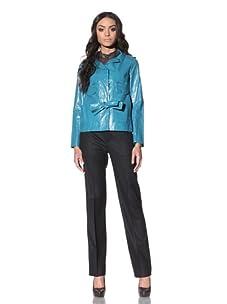 Chloé Women's Coated Linen Jacket (Aqua Fresh)