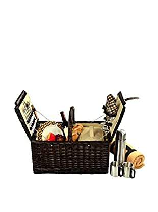 Picnic at Ascot Surrey Picnic Basket for 2 with Blanket & Coffee Set, Wicker/London Plaid