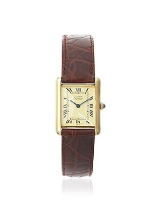 Cartier Women's Tank Must De Brown Leather/18K Yellow Gold Plated Watch (Brown)