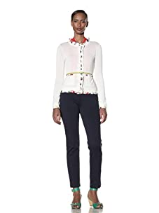Moschino Cheap and Chic Women's Silk-Trimmed Cardigan (Ivory/Multicolor)