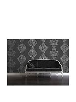 Brewster Luxe Foil Damask Strippable Wallpaper, Charcoal