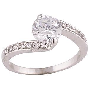 Valarie Platinum Plated with Zircon Stones Ring