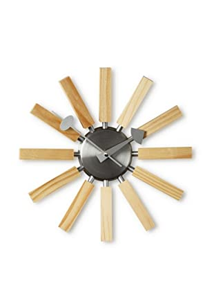 George Nelson by Verichron Natural Wood Spokes Wall Clock, Wood/Silver